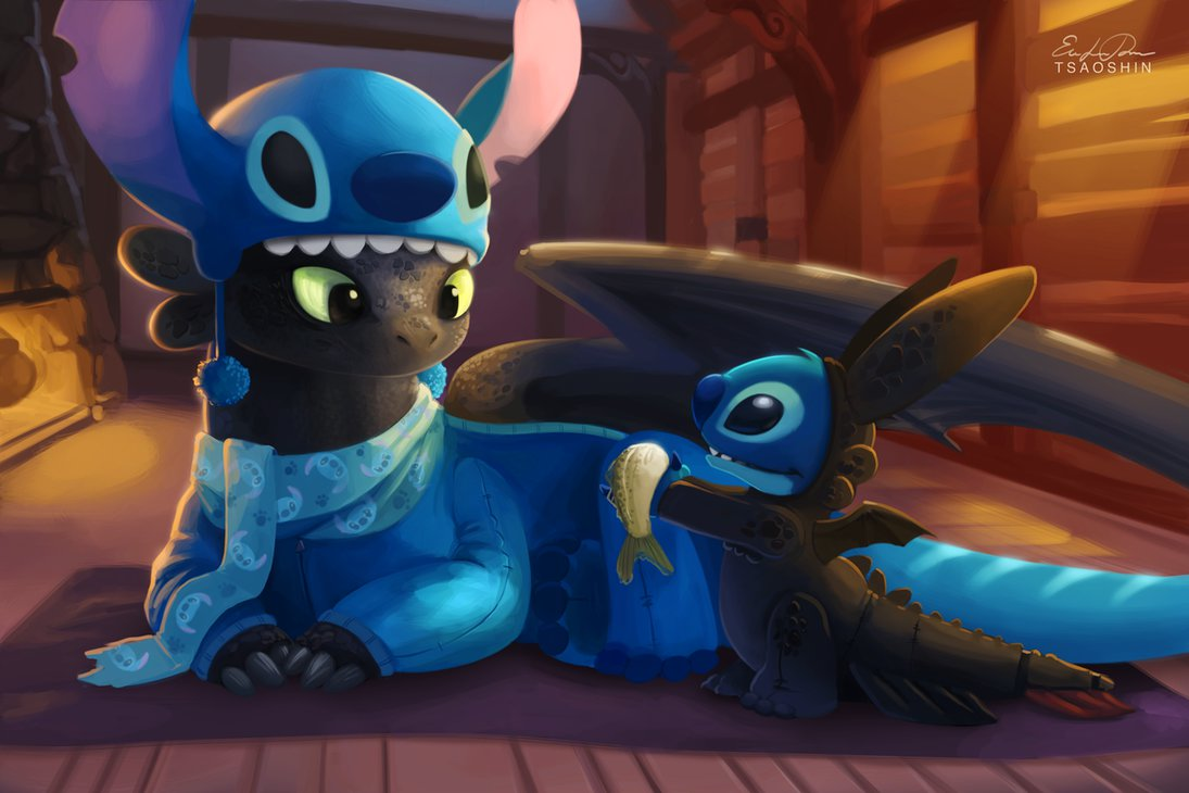 stitch_and_toothless_by_tsaoshin-d7i57wg-png