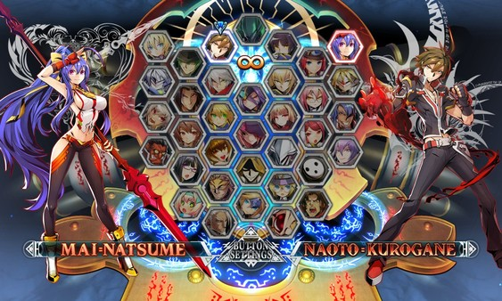 BlazBlue Central Fiction Cast Hazam Noel Vermillion Nine The Phantom Ragna Bloodedge Mai Natsume Naoto Kurogane Character Select Screen