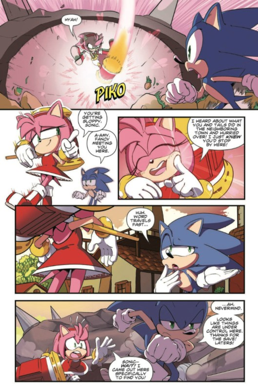 Sonic the hedgehog IDW publishing issue 2 ian flynn amy rose hammer piko
