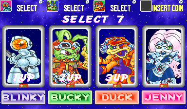 captain bucky o'hare ohare o hare blinky the robot deadeye duck jenny the aldebaran cat first mate character select