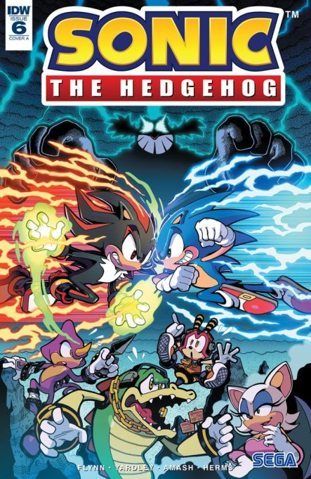 Sonic the hedgehog IDW publishing issue 6 ian flynn eggman espio the chameleon page vector crocodile charmy bee mr tinker shadow rouge the bat cover