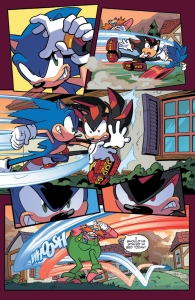 Sonic the hedgehog IDW publishing issue 6 ian flynn eggman espio the chameleon page vector crocodile charmy bee mr tinker shadow rouge the bat cover battle