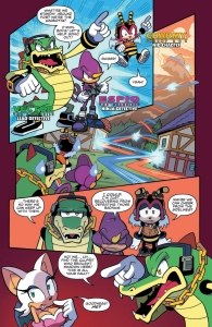 Sonic the hedgehog IDW publishing issue 6 ian flynn eggman espio the chameleon page vector crocodile charmy bee mr tinker shadow rouge the bat cover plan
