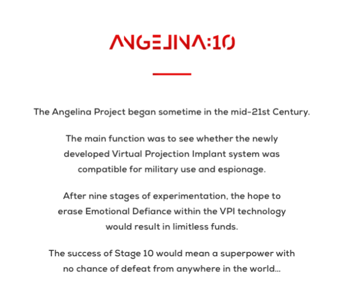 Angelina 10 short scifi AI indiegogo blurb