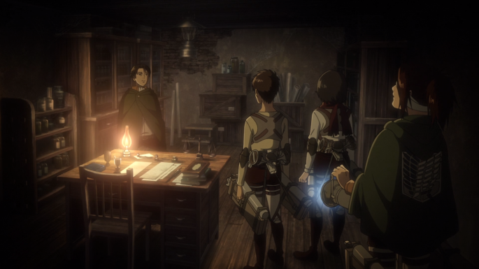 Attack On Titan Shingeki No Kyojin The Basement Anime Episode Mikasa Eren levi hange Grisha