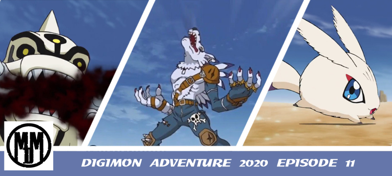 digimon adventure 2020 episode 11 the wolf stands atop the desert weregarurumon kyaromon scorpiomon anime review header