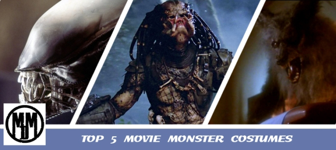 top 5 movie monster costumes xenomorph alien yautja predator howling werewolf splinter fungue suna sassi nightbreed header